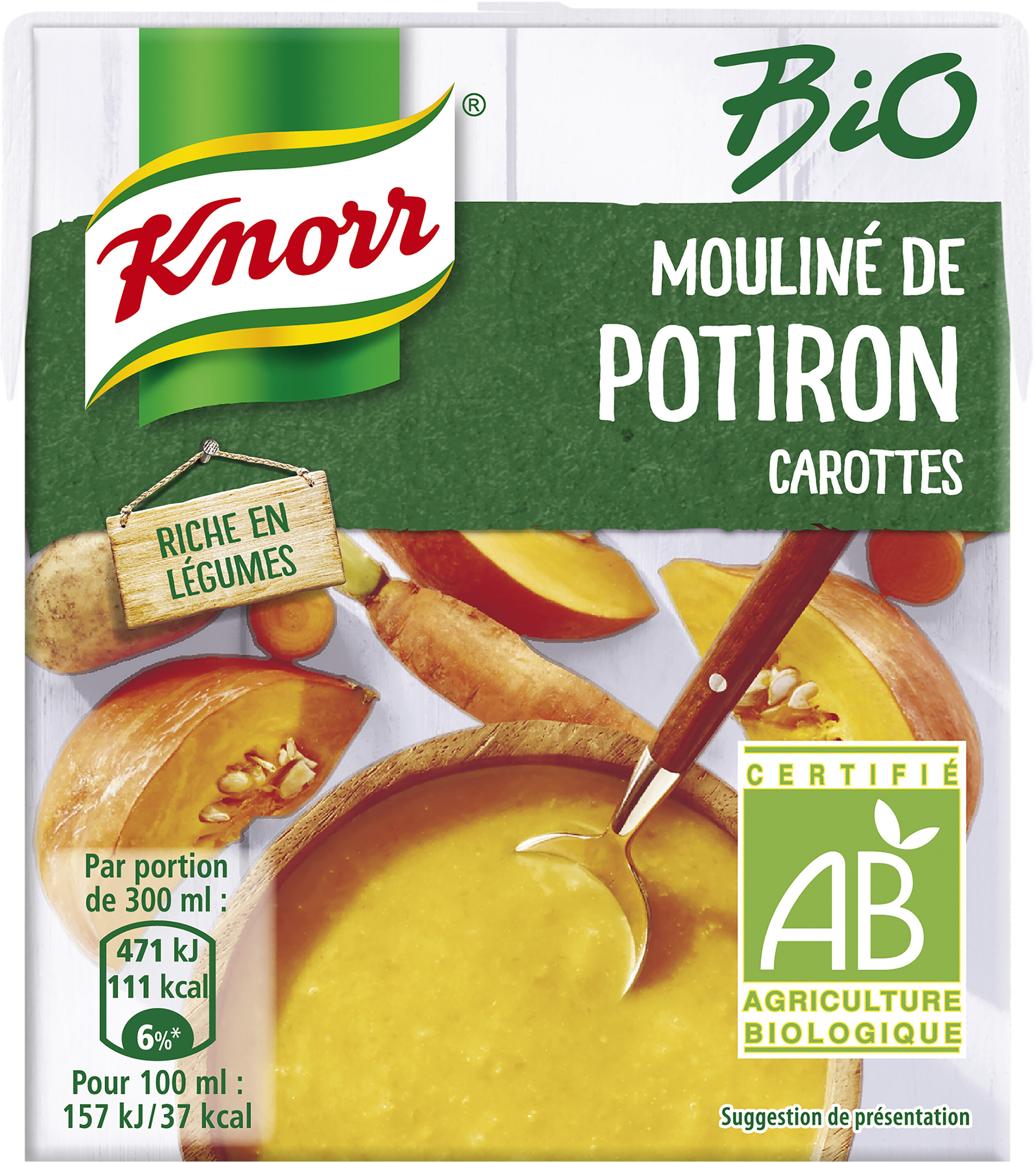 Knorr Bio Soupe Liquide Mouliné de Potiron Carottes Brique 30cl - Producto - fr