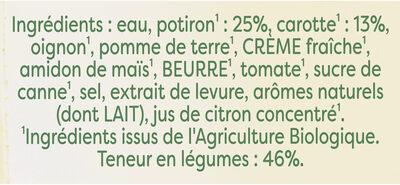 Knorr Bio Soupe Liquide Mouliné de Potiron Carottes Brique 30cl - Ingredientes - fr