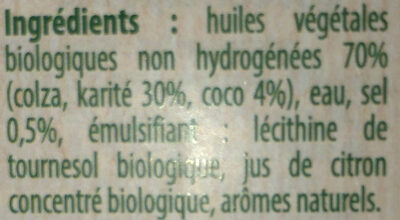 Bio doux, sans huile de palme - Ingrediënten