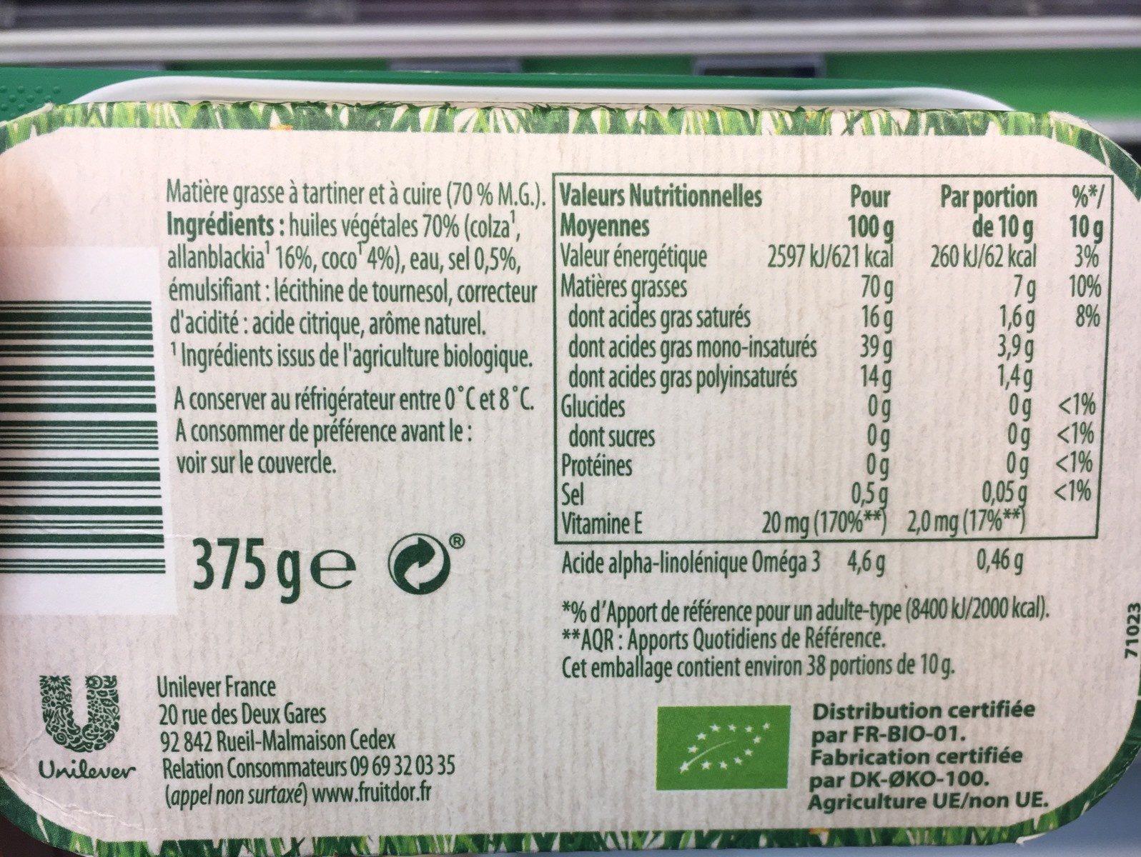 Bio doux sans huile de palme - Ingrédients