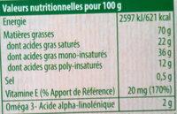 Bio doux, sans huile de palme - Voedingswaarden