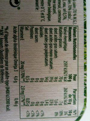 fruit d'or bio sans huile de palme - Informations nutritionnelles