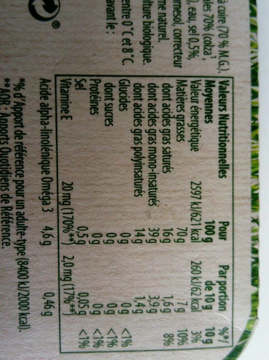 Bio doux sans huile de palme - Informations nutritionnelles