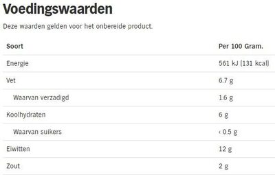 Magere Knaks - Voedingswaarden - nl