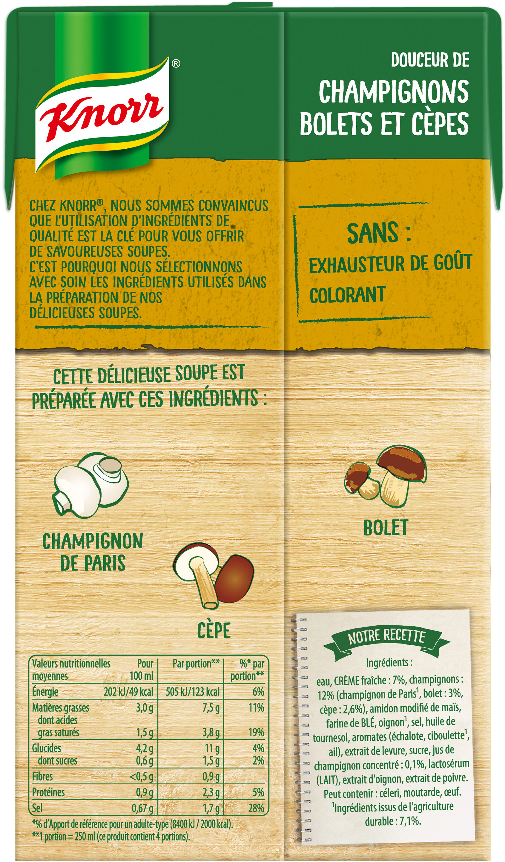 Knorr Soupe Liquide Champignons Bolets & Cèpes 1l - Ingrediënten