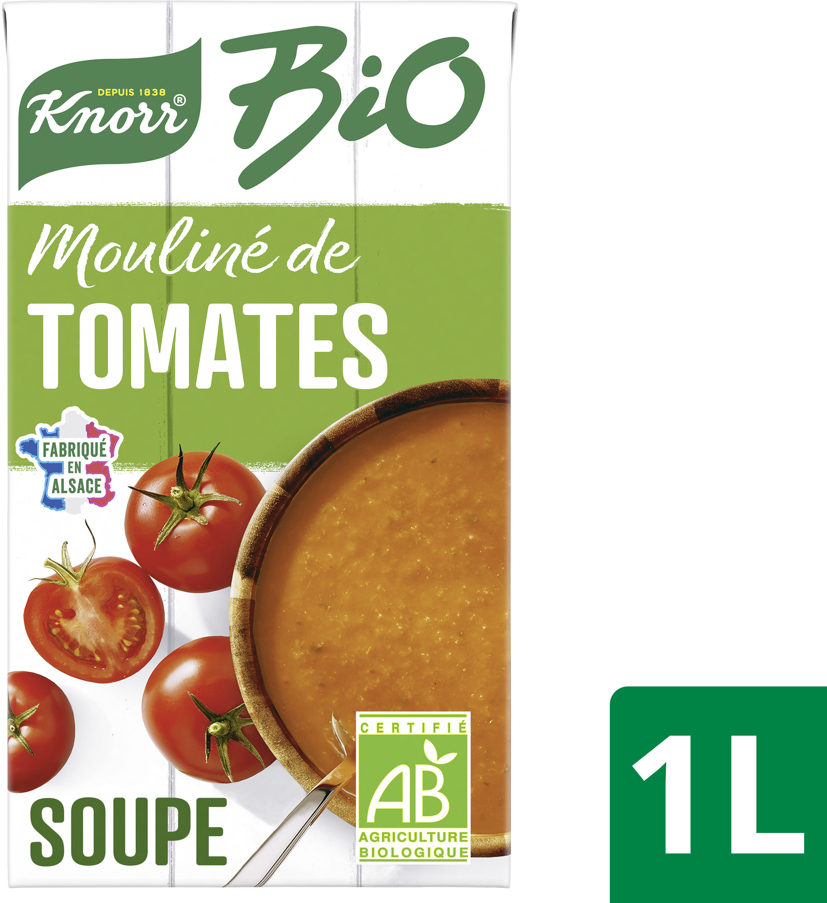 Knorr Mouliné Bio de Tomates Oignons et Pointe d'Herbes 1L - Recycling instructions and/or packaging information - fr