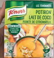 Soupe potiron lait de coco, pointe de citronnelle - Produit