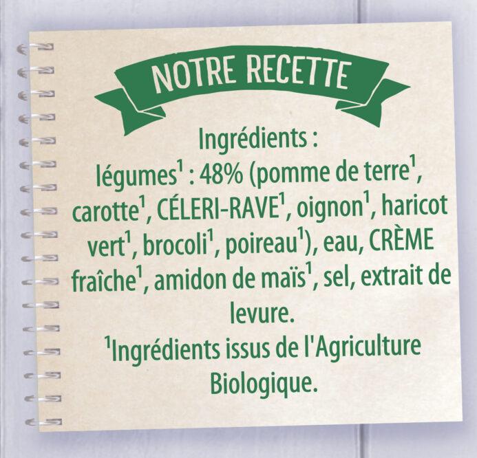 Knorr Soupe liquide Bio Mouliné de Légumes Variés 1L - Ingredients - fr