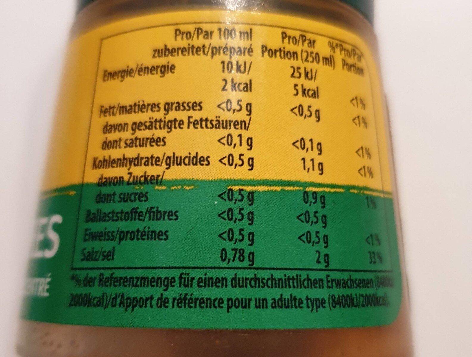 Bouillon de légumes concentré - Nutrition facts