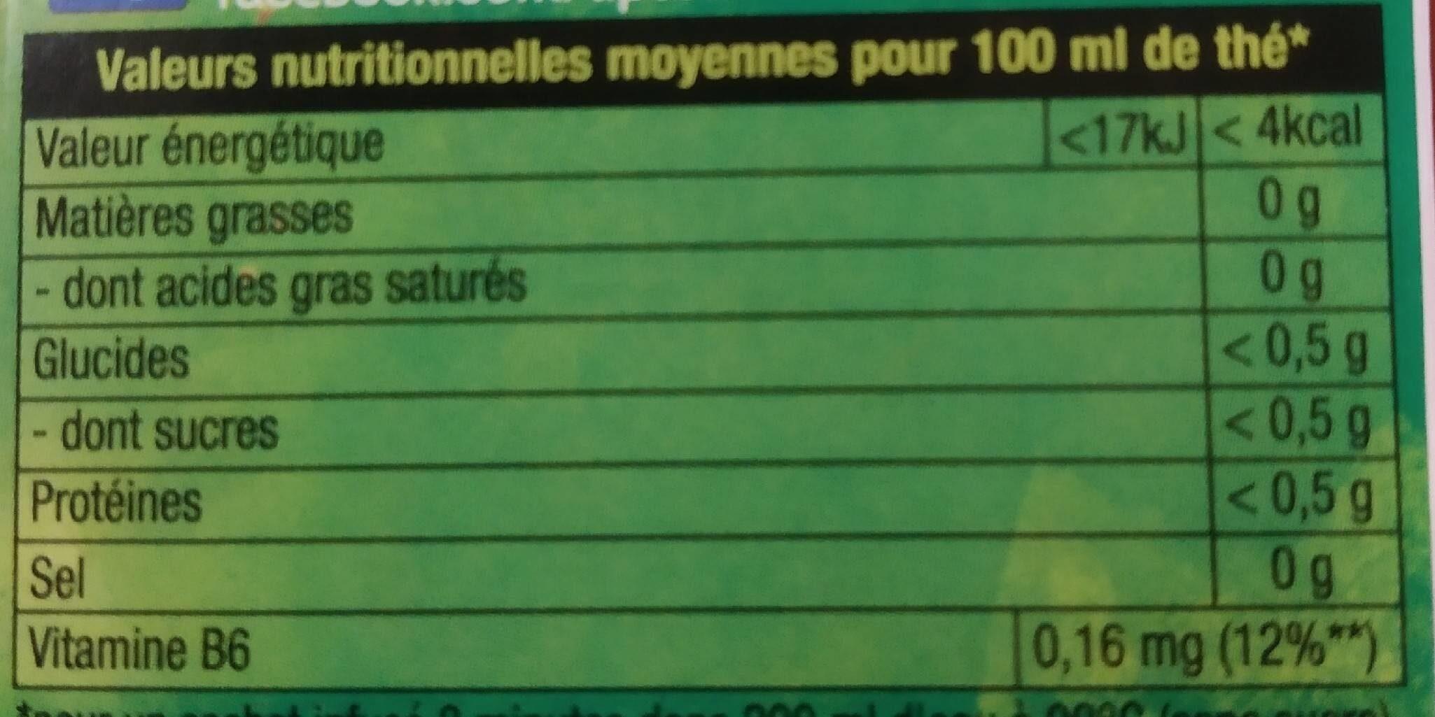 Lipton Thé Vert Boost 20 Sachets - Nutrition facts - fr