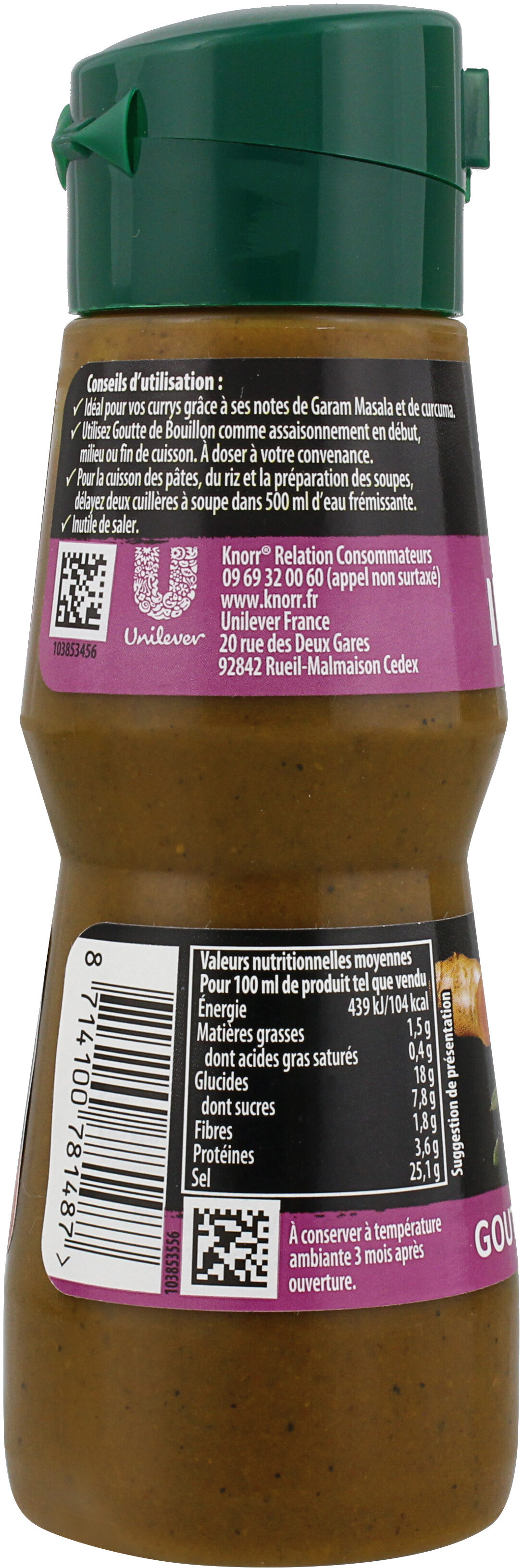 Knorr Goutte de Bouillon Assaisonnement Liquide Saveur Indien 150 ml - Voedingswaarden