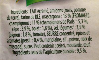Soupe champignons bolets - Ingrédients