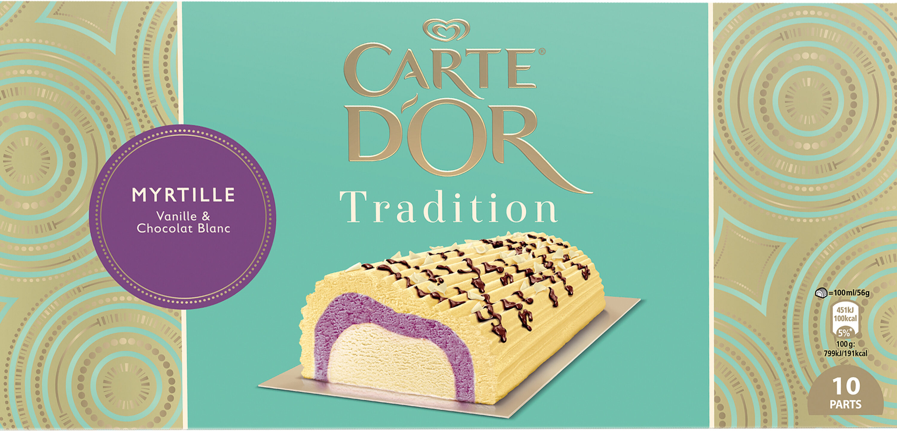 Carte D'or Tradition Buche Glacée Myrtille Chocolat Blanc 10 parts 1l - Produit