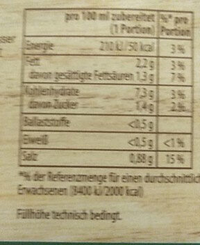 Knorr helle Sauce zu Gemüse - Voedingswaarden
