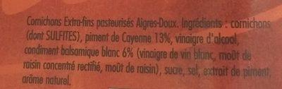 Apéritif cornichons et piments de Cayenne - Ingrédients