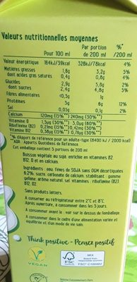 Flora 100% végétal lait de soja - Ingrédients - fr