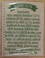crema de calabacin - Ingredients