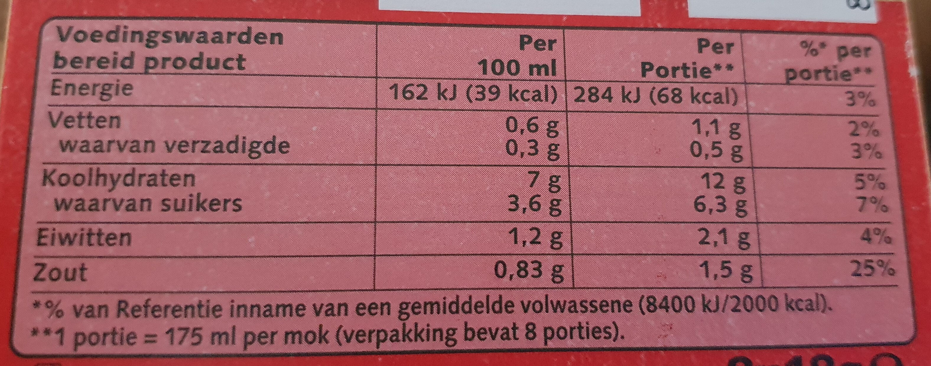 Cup a Soup Tomaat - Nutrition facts - nl