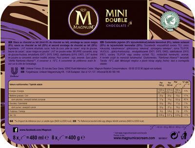 Magnum Batonnet Glace Double Chocolat x8 480ml - Informations nutritionnelles