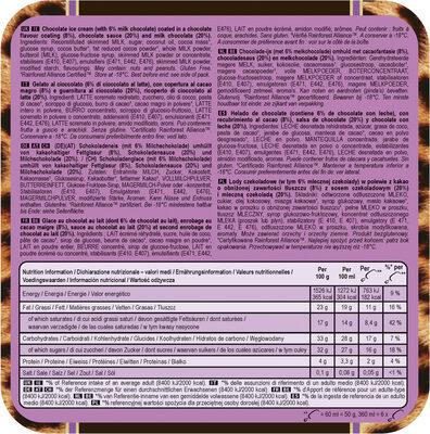 Mini Batonnet Glace Double Chocolat x6 360ml - Ingredientes - es