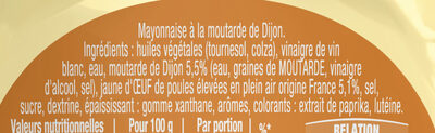 Amora Mayonnaise Dijon Nature Œufs Français Flacon Souple - Ingredienti - fr