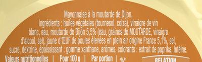 Amora Mayonnaise Dijon Nature Œufs Français Flacon Souple - Ingredienti