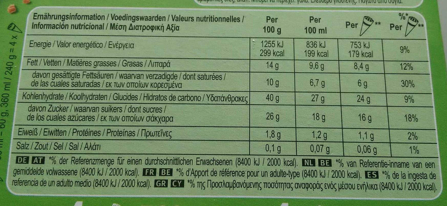 Cornetto au Soja sans gluten - Nutrition facts - fr