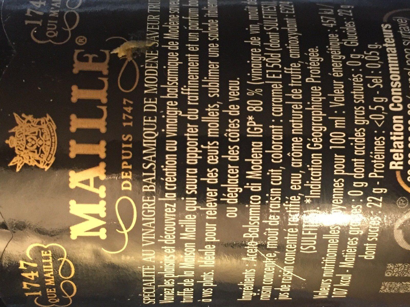 Maille Vinaigre Balsamique Saveur Truffe - Ingredients - fr