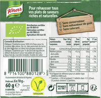 Knorr Bouillon Bio Saveur Légumes 6 Cubes 60g - Nutrition facts