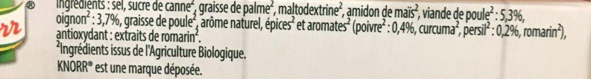 Knorr Bouillon de Poule Bio 6 Cubes - Ingrédients - fr