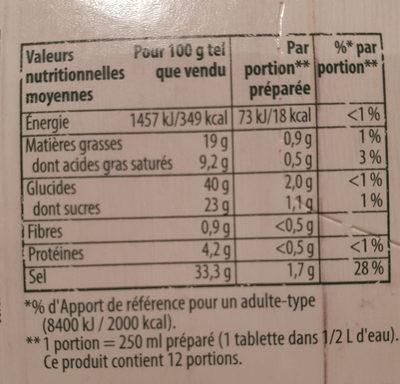 Knorr Bouillon de Poule Bio 6 Cubes - Informations nutritionnelles - fr