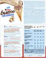 KINDER Bueno Glace Cornet aux Noisettes et Chocolat 360ml x4 - Ingrédients - fr