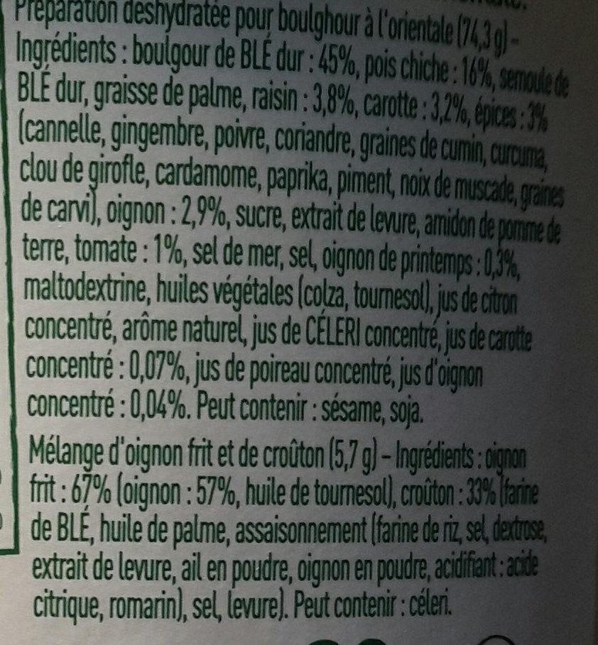 Mon Veggie Pot Boulghour à l'Orientale - Ingredients - fr