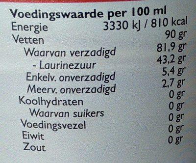 Biologische kokosolie - Voedingswaarden