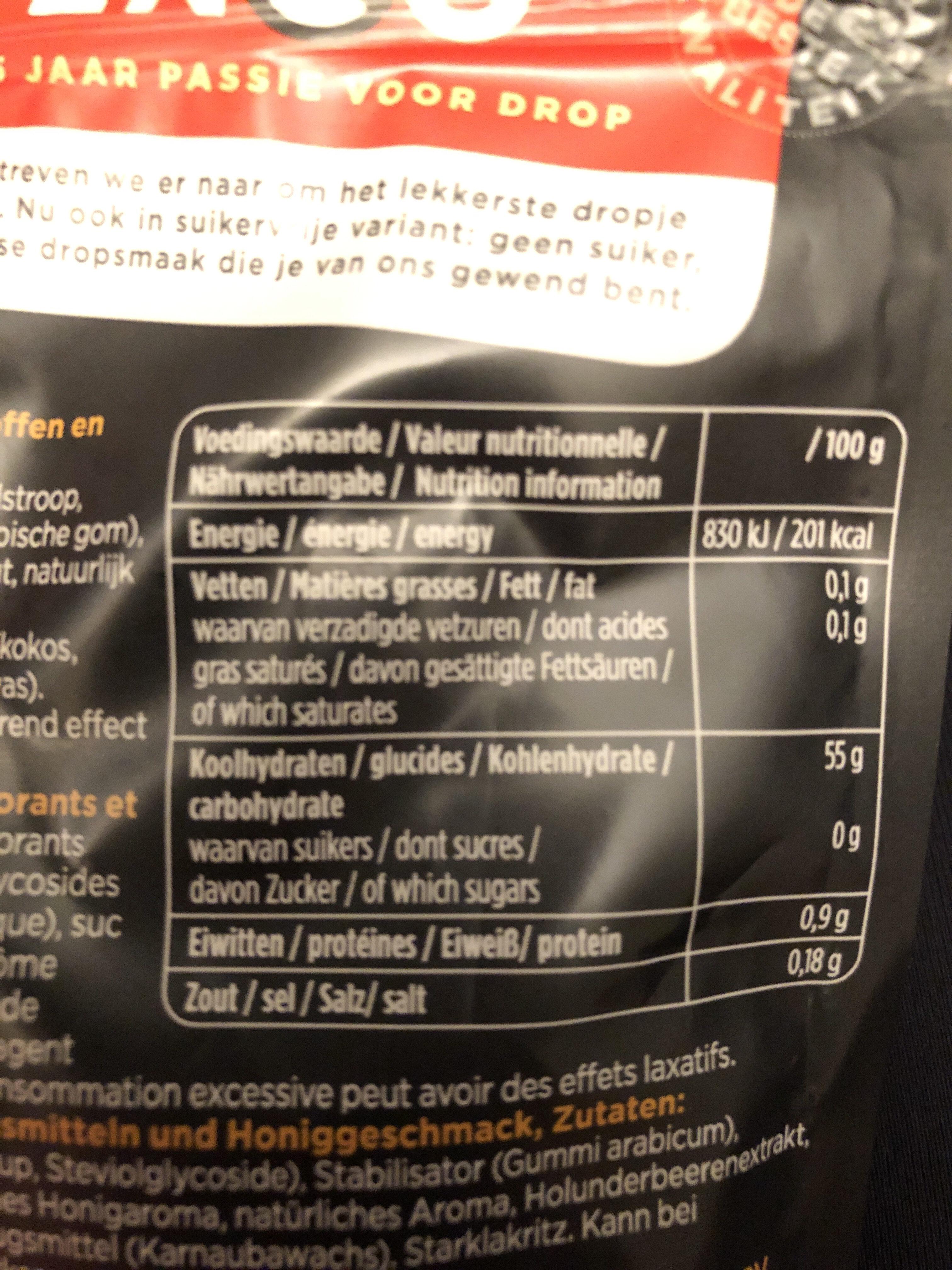 Suikervrij Honing Drop - Nutrition facts