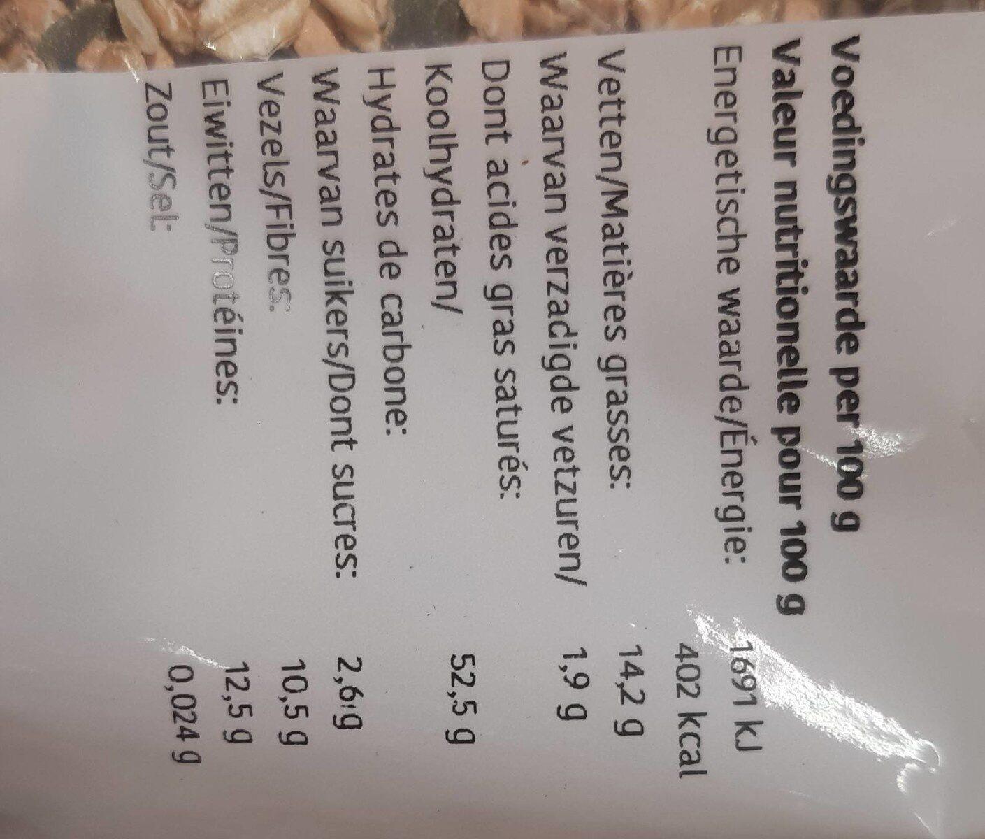 Muesli noix - Nutrition facts - nl