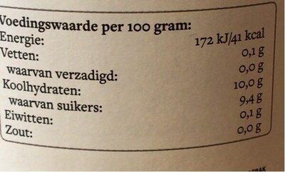 Het sapgilde - Nutrition facts - nl