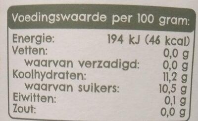 Flevosap - Voedingswaarden - nl