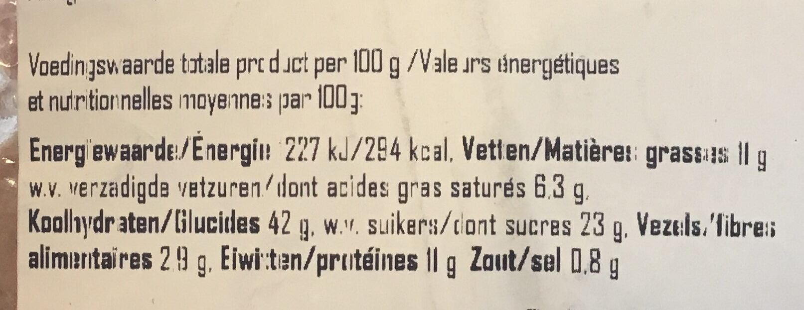 Krentenbol Maaslander Jong Belegen - Nutrition facts - nl