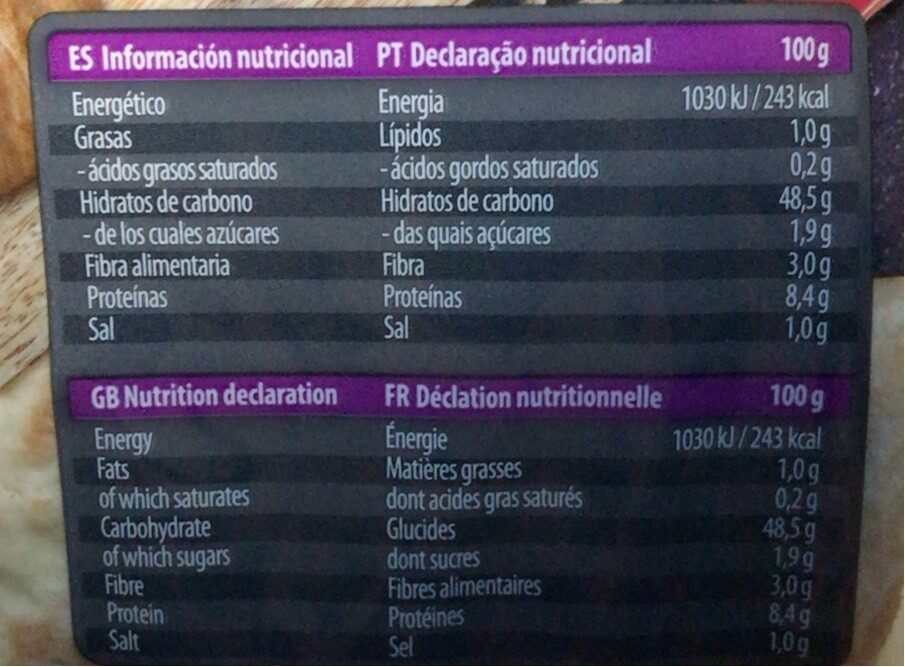 Pita original - Informació nutricional - es