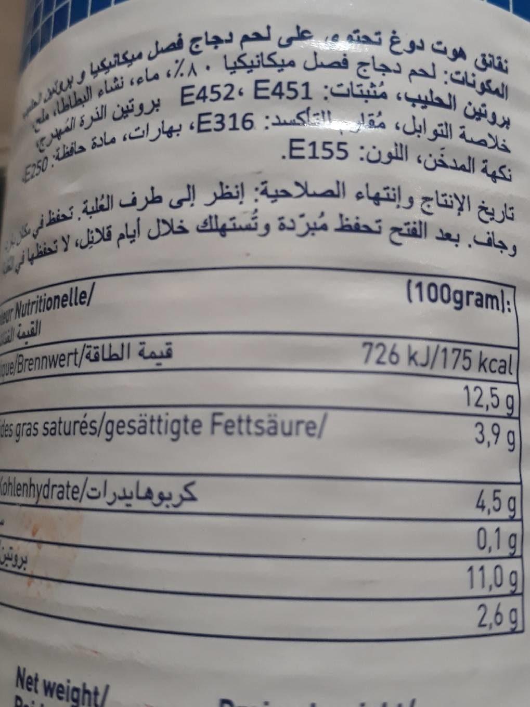 10 Hot Dog Poulet - Informations nutritionnelles