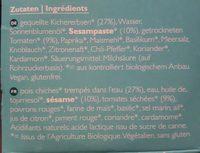 Hummus Tomate Séchée - Ingrédients - fr