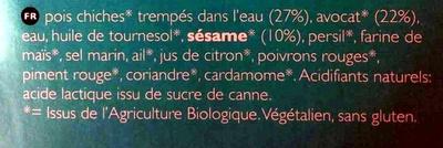 Salade Hummus Bio - Ingrédients
