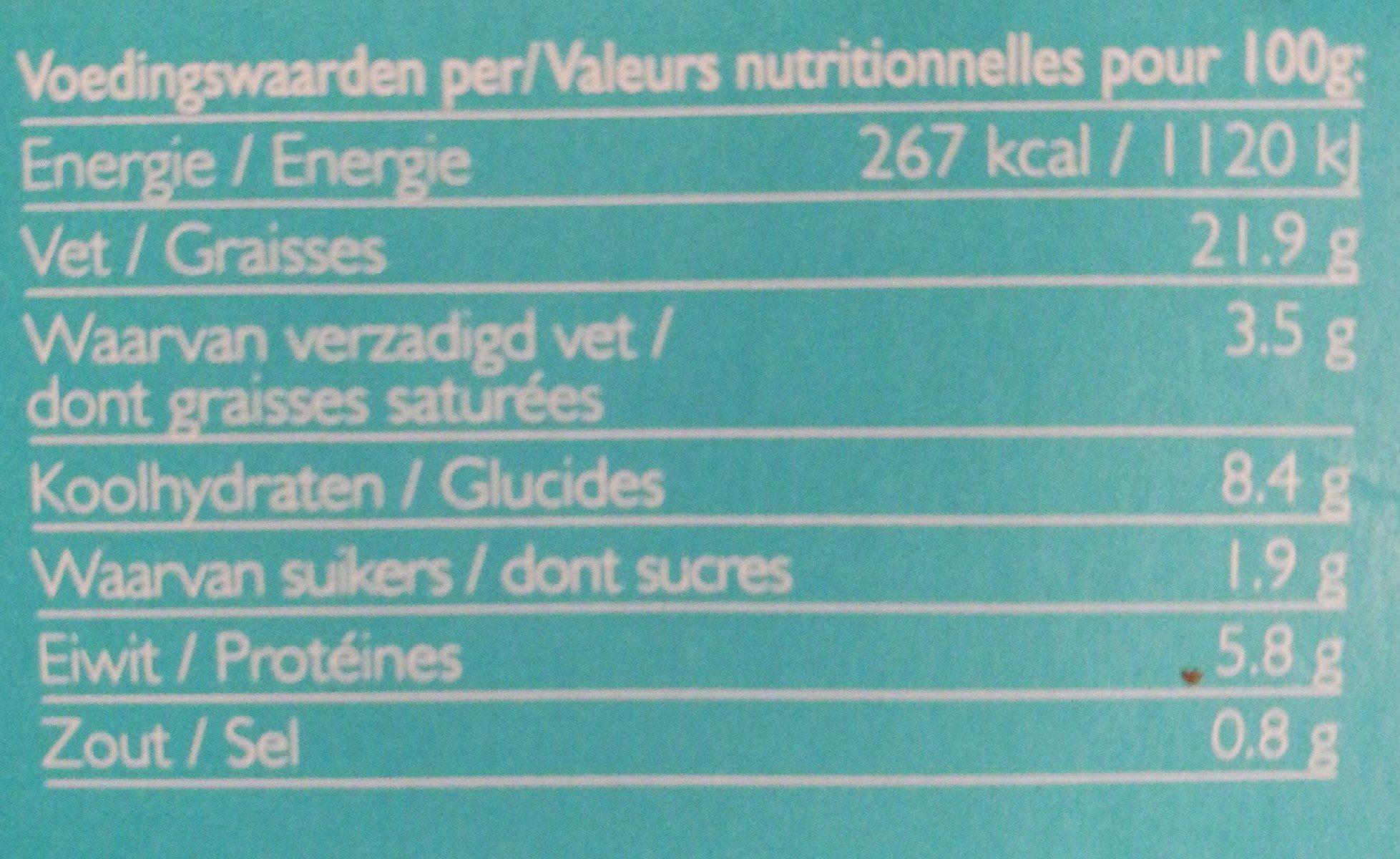 Hummus Wasabi Bio - Nutrition facts - fr