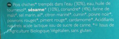 Hummus Coriandre - Ingredients - fr