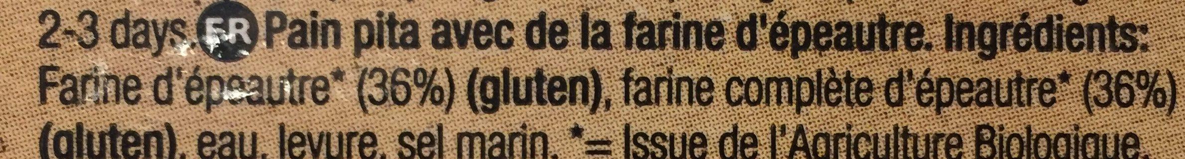 Organic spelt pita bread - Ingrediënten - fr