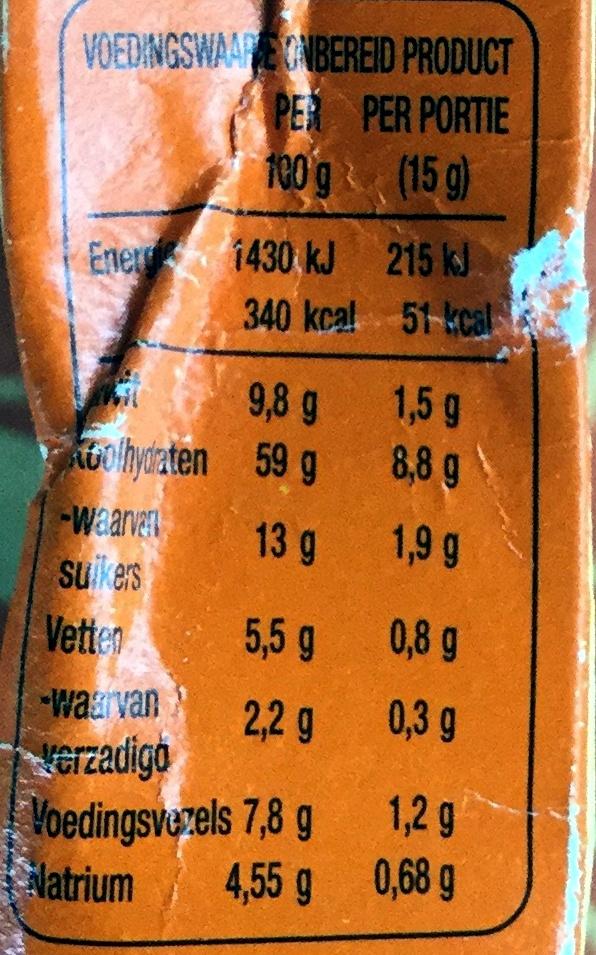 Mix voor Sphagettisaus Bolognese - Voedingswaarden - nl