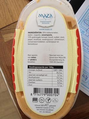 Hoemoes zondegroogde tomaat - Product