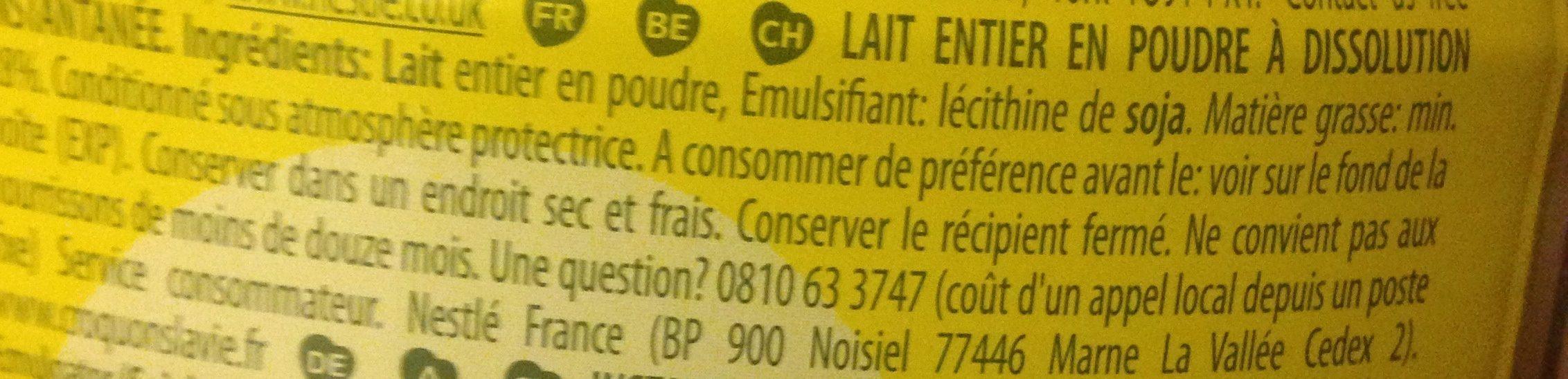 Instant Full Cream Milk Powder - Ingredients - fr