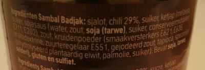 Sambal badjak extra hot - Ingrediënten - nl